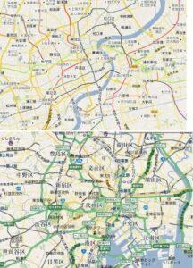 東京と上海の地図比較