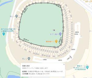 東京ドームグラウンド面積